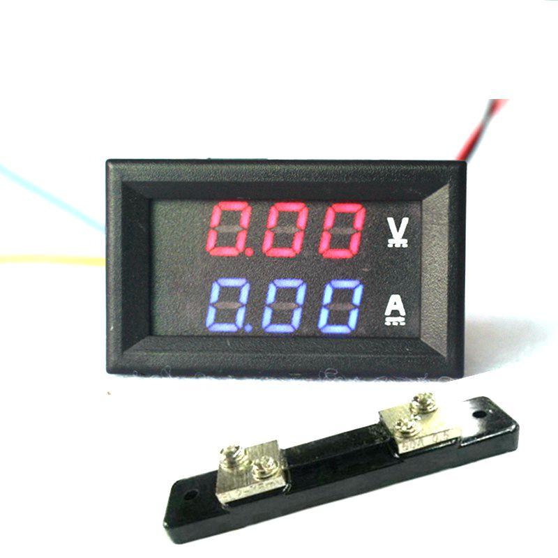 2in1 DC Volt Amp Dual display Meter 0.28 DC 0-100V/50A Red Blue Voltmeter Ammeter With Ampere Shunt<br><br>Aliexpress