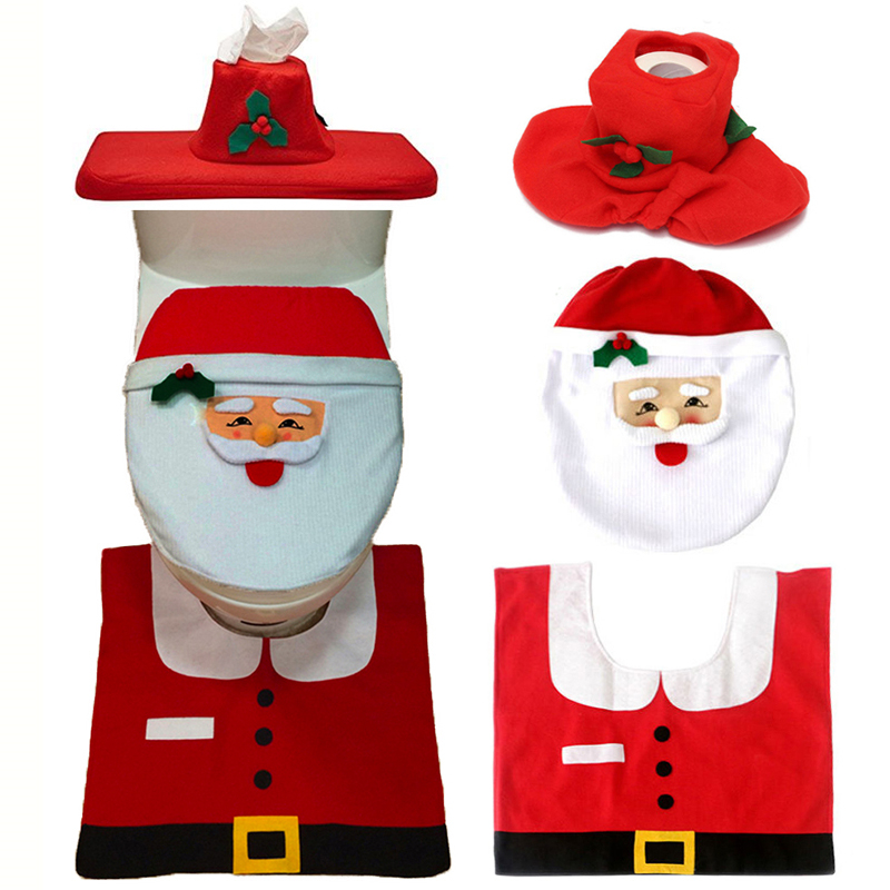 Christmas Interior 3pc/set Christmas Decoration Xmas Happy Santa Toilet Seat Cover and Rug Bathroom New Year home decorations(China (Mainland))