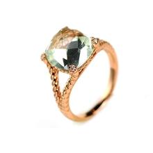 Природный Зеленый Аметист Стерлингового Серебра 925 Серебряное Кольцо Для Женщин(China (Mainland))