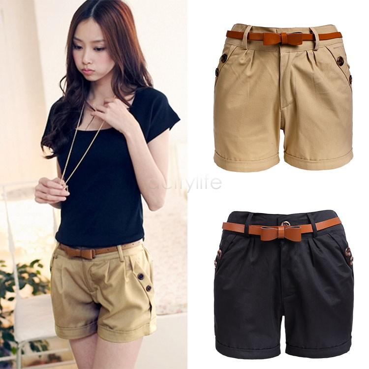 2015 Spring Summer Fashion Women Slim Fitted Casual Shorts Girl Loose Hot Shorts Black Khaki Plus Size Drop Shipping 51(China (Mainland))
