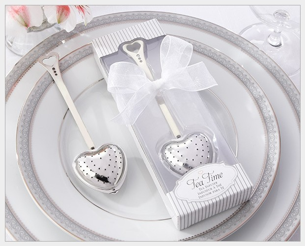 30 sets lot Wholesale wedding favors Free shipping Silver Heart Shaped Tea infuser Party party For Guest(China (Mainland))