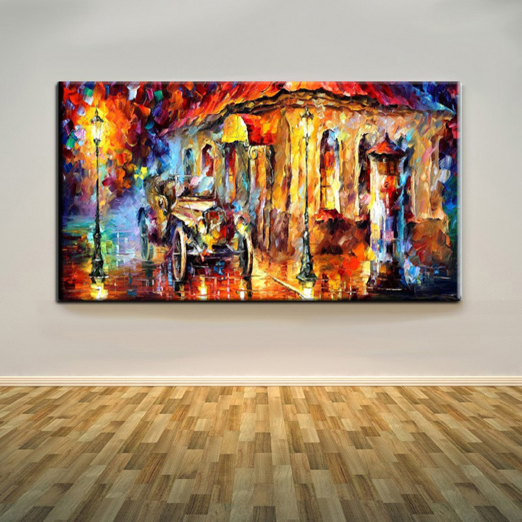Hand Painted Beautiful Street Landscape Oil Painting On Canvas Abstract Paris Street ...