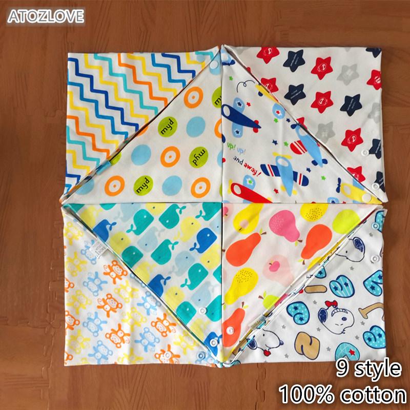 summer baby bibs 100% cotton bandana bib toddle infant boy girl babes double layer triangle Cartoon saliva towel snap fastener(China (Mainland))