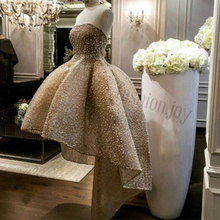 2016 Fashion Strapless Sleeveless Beaded Pearls Short Front Long Back Cocktail Dresses(China (Mainland))