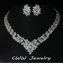 Super Luxury Bridal CZ Diamond Jewelry White Gold Plated African Design Wedding Zirconia Beads Jewelry Sets For Brides T146(China (Mainland))