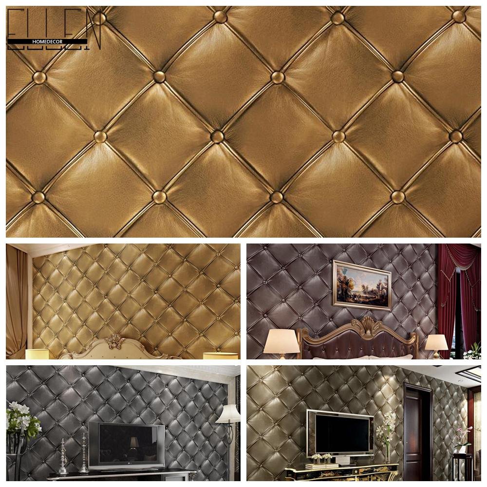 3D PVC vinyl simulation of soft luxurious leather wallpaper roll bedroom living room TV background pvc wallcovering(China (Mainland))