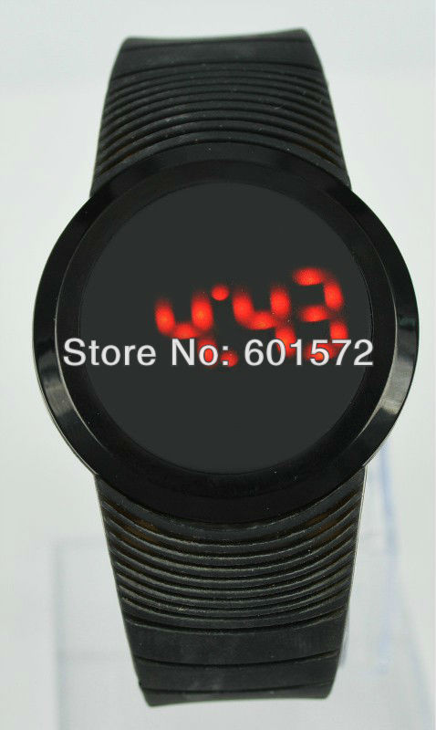 30pcs/lot free shipping hot saleFashion design silicone band touch led men's watch,different colors choice for women/men,(China (Mainland))