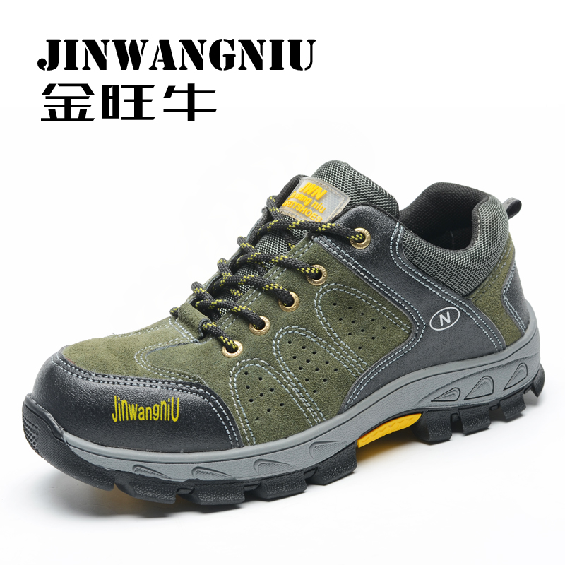 men breathable steel toe caps work safety hiking shoes women platform suede leather tooling boots spring autumn climbing zapatos - Miyado store