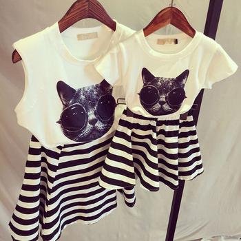 2015 летний стиль соответствия мать дочь одежда печать милый кот семья установить одежду для матери и дочери семья посмотрите