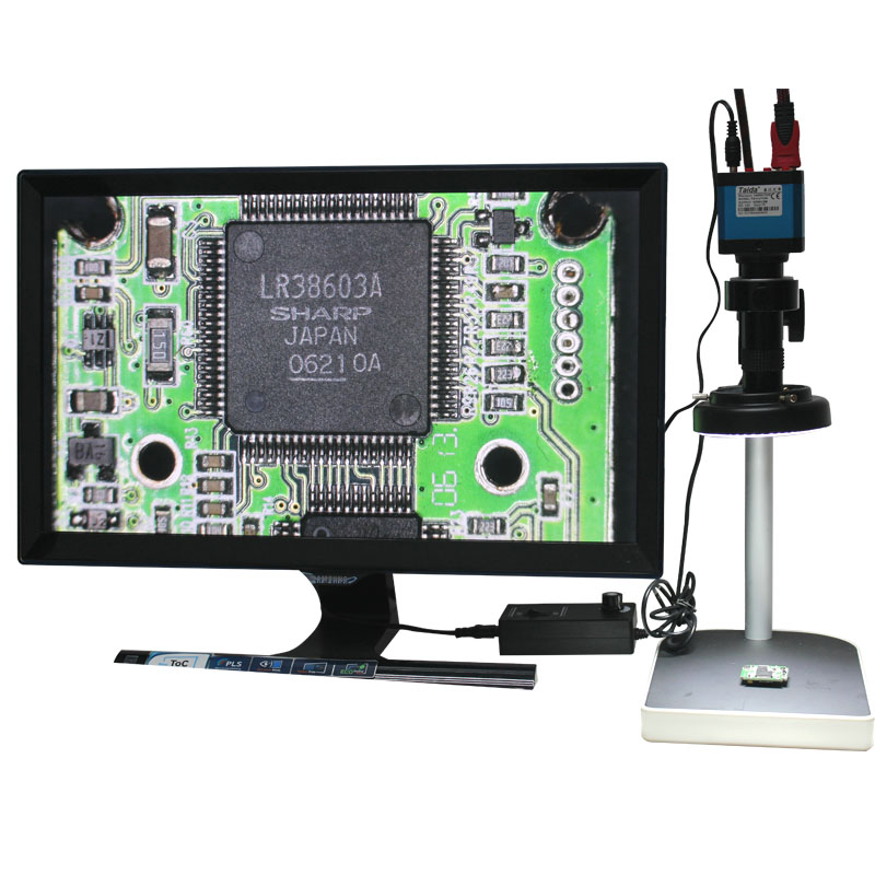 14MP HDMI Microscope Camera For Industry Lab PCB USB Output TF Card Video Recorder + C-mount Lens + 144LED Light + Stand(China (Mainland))