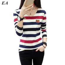 Buy Women t shirt womens tops Tee shirt femme winter long sleeve tshirt Fashion 2016 poleras de mujer stripe t-shirt camisetas TS01 for $9.77 in AliExpress store