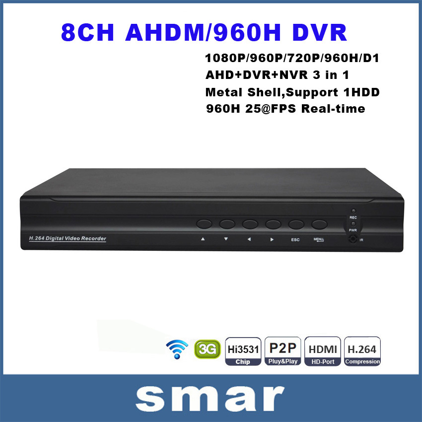 8CH Full AHD 720P 960H Realtime CCTV DVR 8CH Hybrid DVR NVR HVR 3 In 1 With HDMI 1080P Onvif P2P Cloud Support 3G Wifi<br><br>Aliexpress