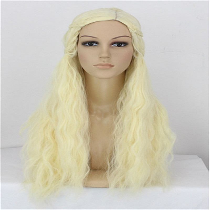 Game of Thrones A Song of Ice and Fire Beige Blonde cosplay wig Daenerys Targaryen anime long curly synthetic wigs braided wigs