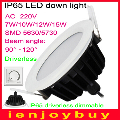 20pcs/lot driverless 8W/10W/13W/16W dimmable waterproof IP65 led panel light High bright SMD LED ceiling light 3 years warranty(China (Mainland))