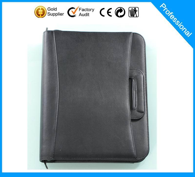 2015 New style Assorted Colors Portfolio, A4 Leather Portfolio With Calculator and Notepad/Zipper Leather Portfolio(China (Mainland))