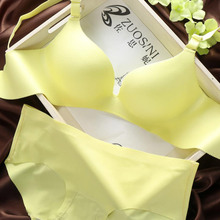 Supply smooth piece seamless solid underwear women bra set no rims push up deep V adjustable lingerie set 32-38(China (Mainland))