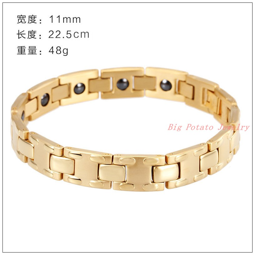 "8.86""*11mm 18g New Fashion 316L Stainless Steel 18K Gold Plated Mens Boys Health Care Chain Bracelet Bangle Cool Chain Good Gift cheap"