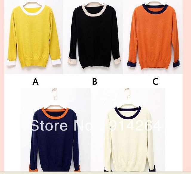 Womens Ladies Vintgae Splice Knited Cardigan Pullover Jumper Sweater OL Tops   free shipping