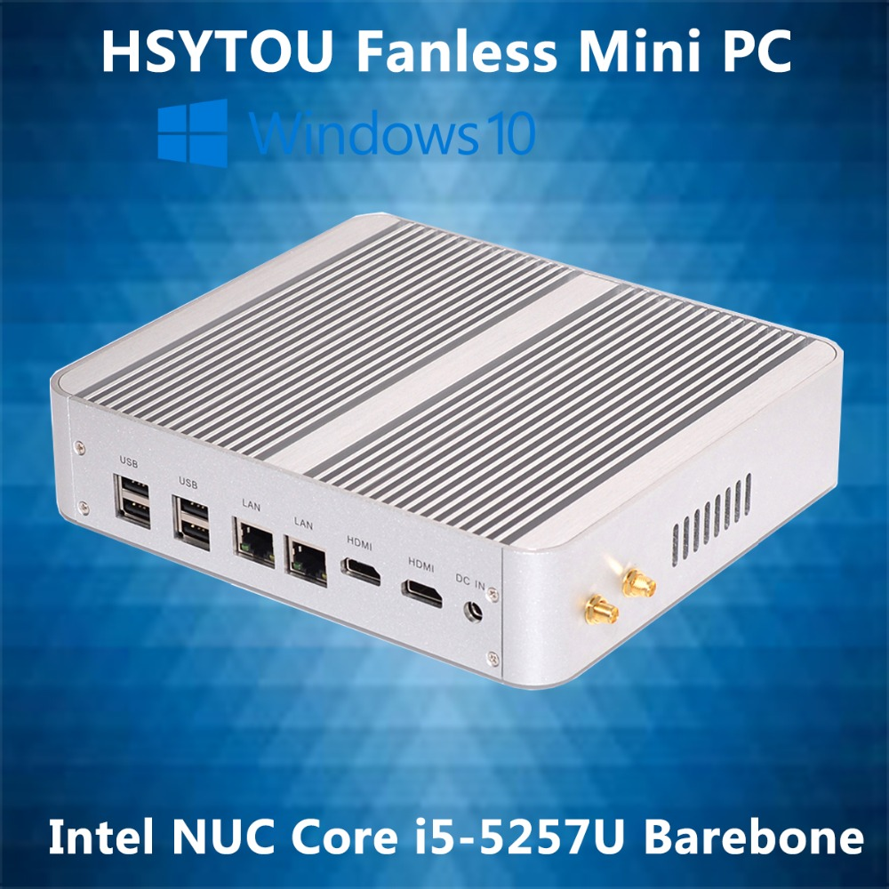 Wholesale 5th Gen CPU Intel NUC Core i5-5257U Iris Pro HD 6100 Fanless Mini PC Barebone 2 LAN Windows Linux Supported 4 USB 3.0(China (Mainland))