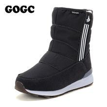 GOGC için Sıcak su geçirmez botlar Kadın Sıcak Kar Botları ile 2018 Moda Kış Çizmeler Kadın Kürk Peluş Büyük Boy Kış Ayakkabı kadın(China)