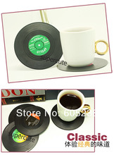 Free Shipping 6Pieces/Set New Arrivals Spinning Retro Vinyl Record Drinks Coasters / Vinyl Coaster Cup Mat(China (Mainland))