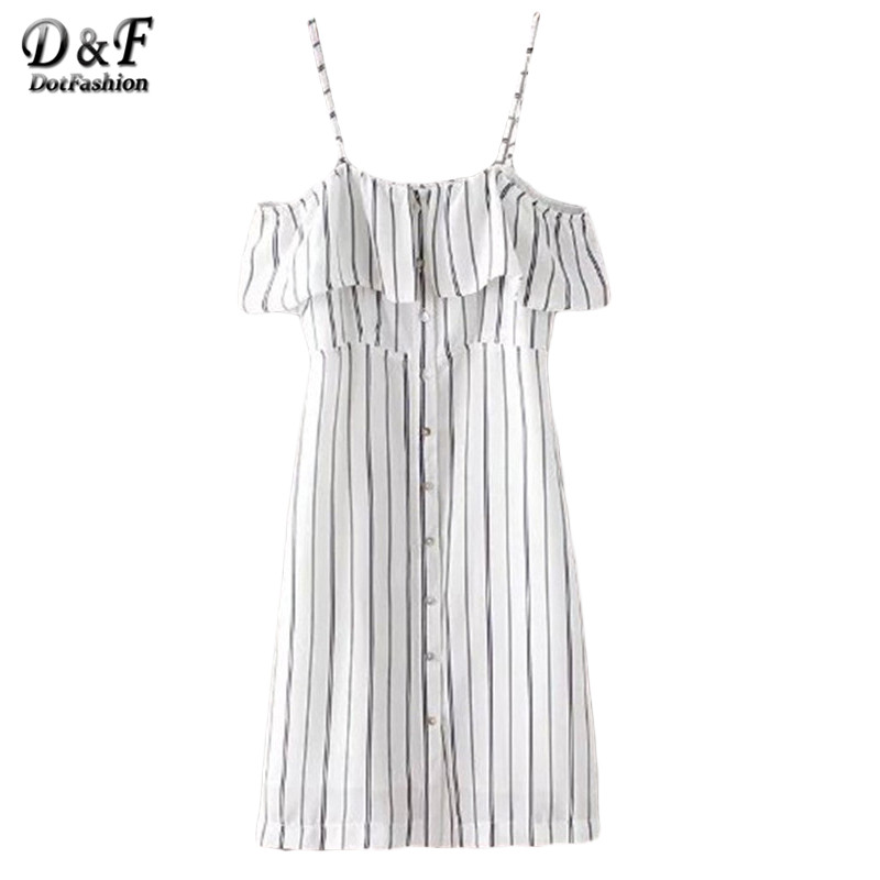 Dotfashion Sexy Black White Stripe Buttons Front Spaghetti Strap Dresses Summer Style New Arrival Casual Womens Mini Dress(China (Mainland))
