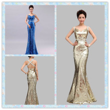 Long Evening font b Dress b font 2016 New Arrival Sequined Spaghetti Strap Backless font b