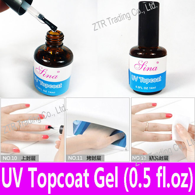 1 piece UV Top Coat Gel Topcoat for UV Curing Acrylic Nail Art Glossy Coating with Any UV Light Lamp 14ml Clear Color Set Kit(China (Mainland))