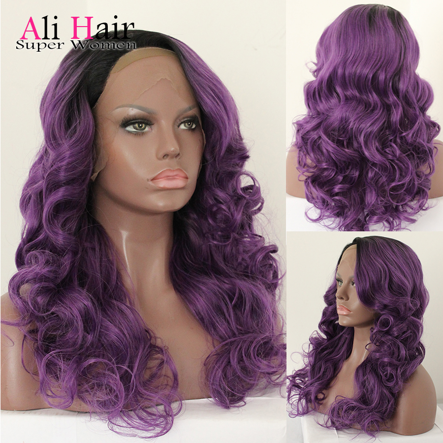 High Quality Synthetic Lace Front Wig Heat Resistant African American 1b/purple Two Tone Ombre Synthetic Wig for Black Women