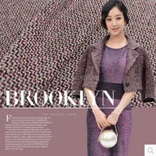 Advanced and custom-built purple series of colorful wool knitting fashion fabric TWEED FABRIC for double C style clothing(China (Mainland))