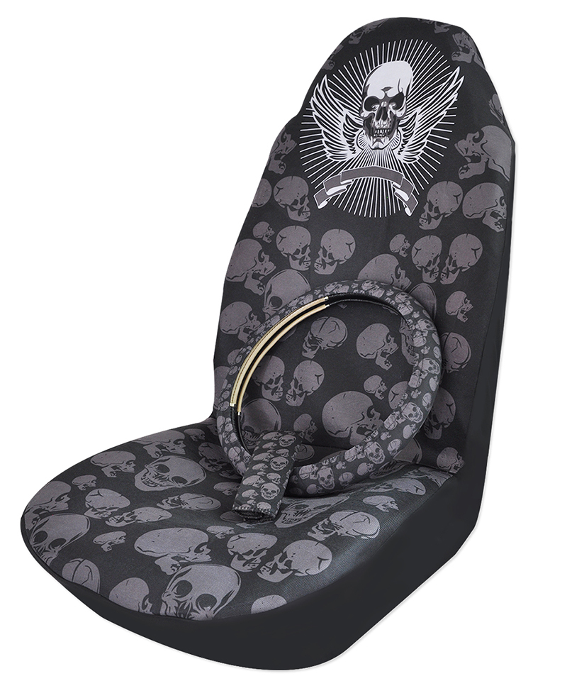 High Quality Skull Universal Bucket Seat Covers Steering Wheel Covers Seat Belt Covers Car Interior Decoration Auto Accessories(China (Mainland))