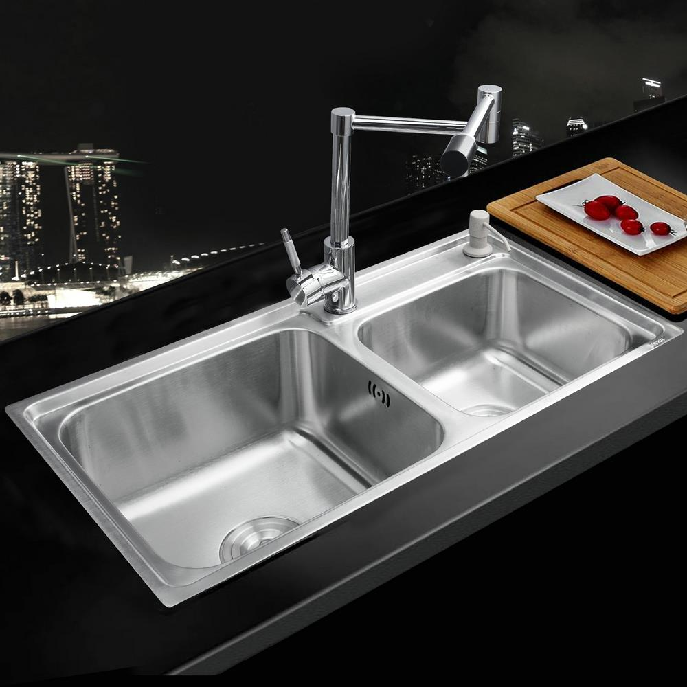Kitchen Vessel Sink : Kitchen Stainless Steel Sink Vessel Kitchen Washing Dishes Double Bowl ...
