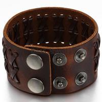 Мода широкий кожаный коричневый / черный плетеный браслет женщин Мужская браслет Размер переносимой регулируемый