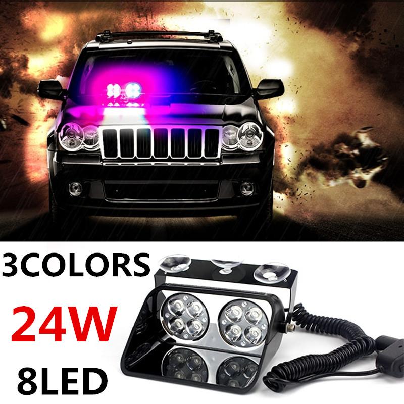 24W Windshield Led Strobe Light S8 Viper Car Flash Signal Emergency Fireman Police Beacon Warning Light Red Blue Amber <br><br>Aliexpress