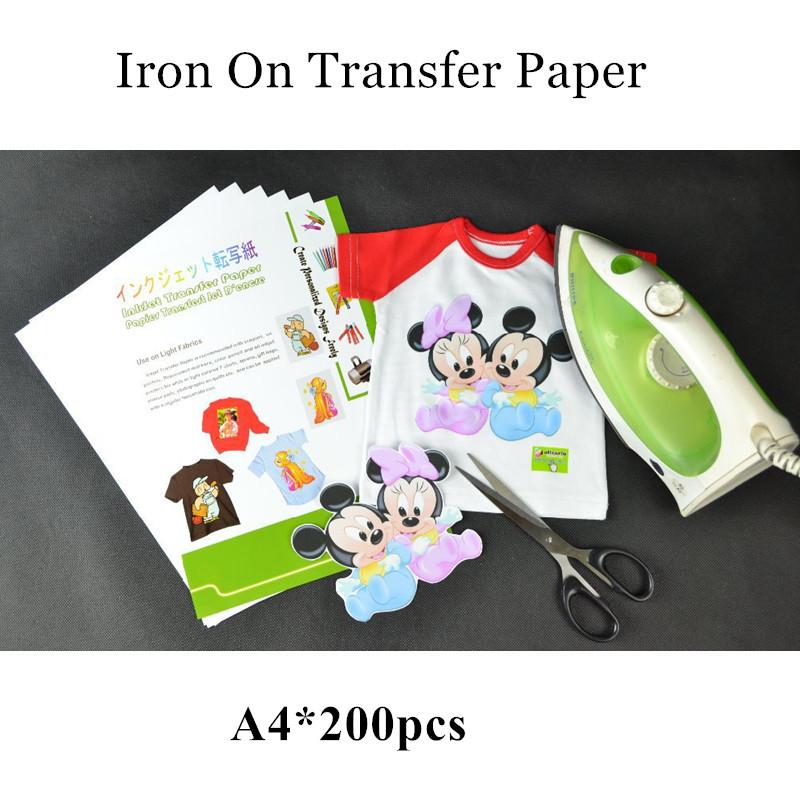 200pcs lot wholesale iron on inkjet heat transfer for Iron on shirt paper