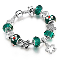Fashion Accessories Silver Charm Bracelet Green European Glass Beads Clover Pendant Bracelets for Girls Women Jewelry