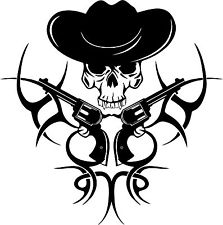 Tribal Cowboy Wear Hat Picture Skull Take Gun Wall Stickers Western Rodeo Style Wall Decals Handsome Boys Living Room Stickers(China (Mainland))
