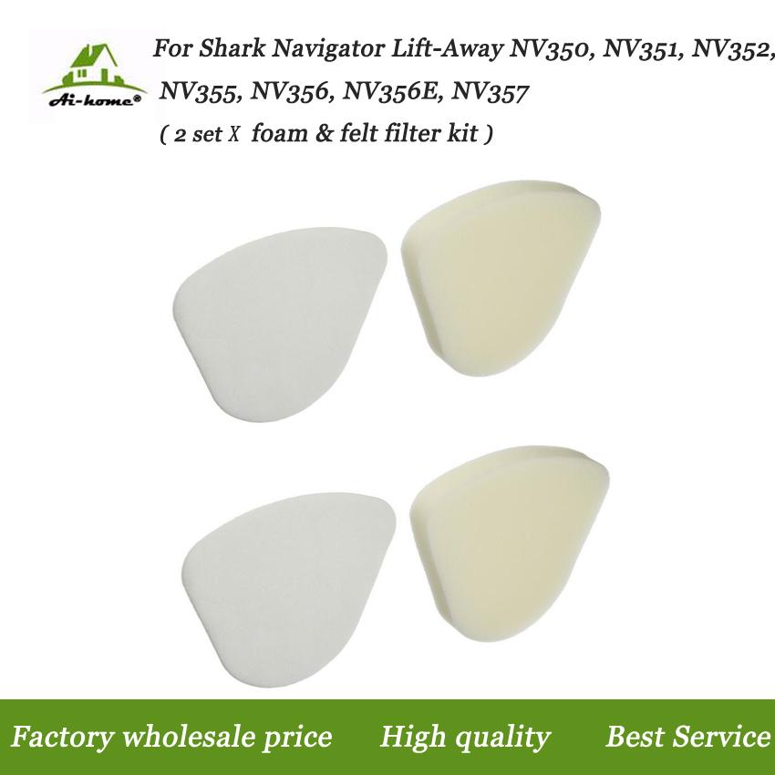 2 Foam &2 Felt Filters Kit Replaces For Shark Part # XFF350 & # XHF350 Vacuums Part For Shark Navigator Lift-Away NV350 Foam Kit(China (Mainland))