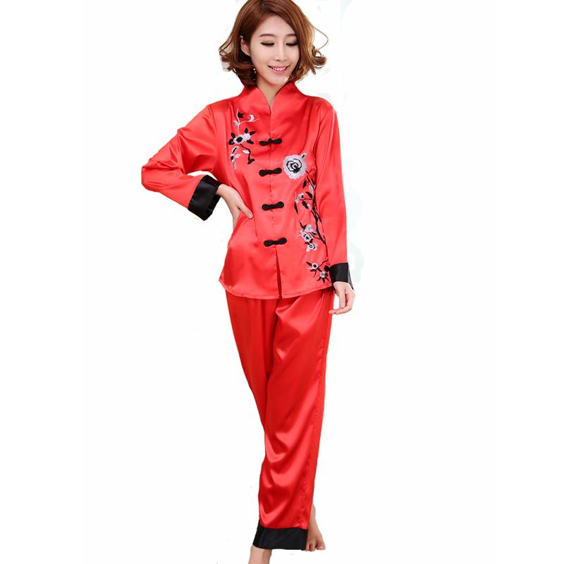 Red Chinese Style Women Silk Pajamas Set Embroidery Pyjamas Suit Handmade Button Sleepwear Flower M L XL WP001 - Fashion National Clothing store