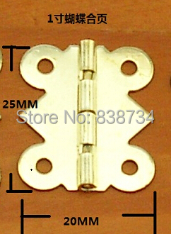 100pcs 20*25MM Steel with Brass Plated Cabinet Door Hinge 4 Holes Butterfly Golden Tone(China (Mainland))