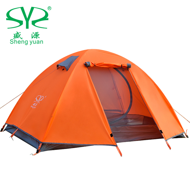 Tent camping tent 1-2 person tent four-season tent double layers one bedroom construction based on need couple aluminum pole