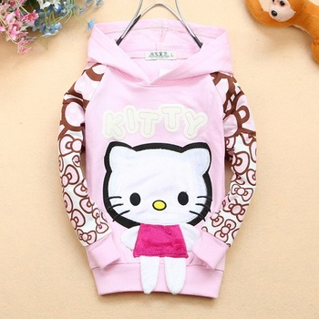 Free shipping  kitty cat artwork girl's outerwear  special design bowknot print artwok long sleeves coat  item# 7802