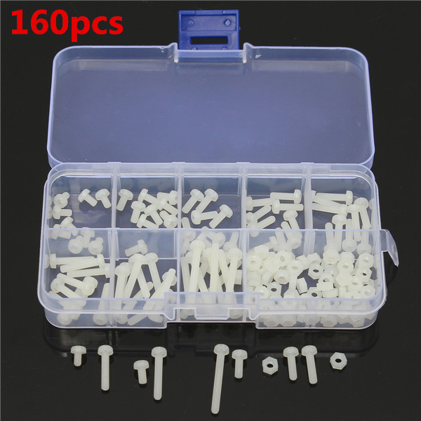 Гаджет  2 sets/Lot  _ 160pcs M3 White Nylon Screws 8 Sizes Assortment Stand-off Bolt & Nuts Kit None Аппаратные средства