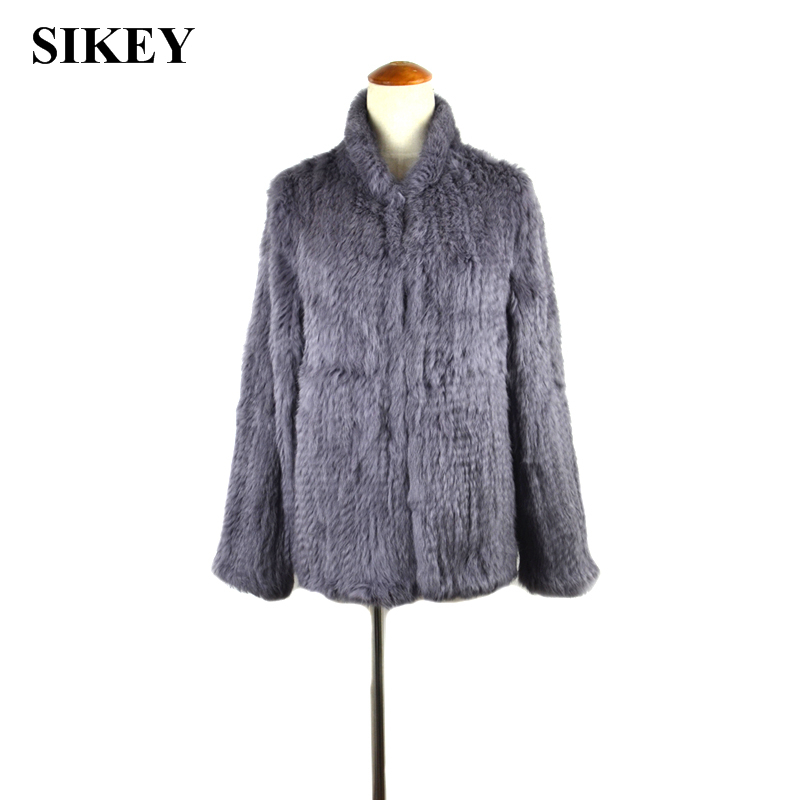 CR034 New women knitted real rabbit fur coat /jacket Chinese stand collar fashion 3colors(China (Mainland))