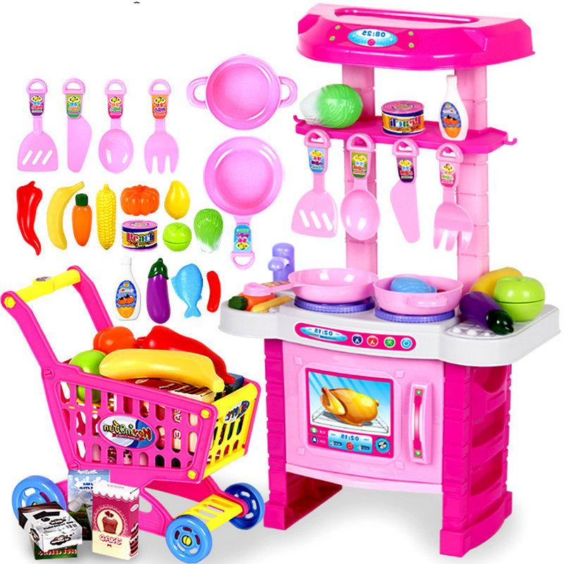Child Toys Light Music Girls Kitchen Toys Pretend Play Baby Sooktops Dinnerware Kooking Utensils Set Giving a Shopping Cart(China (Mainland))