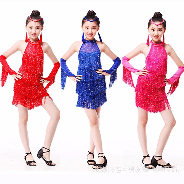 DB23905 Fringe latin dance dress-5