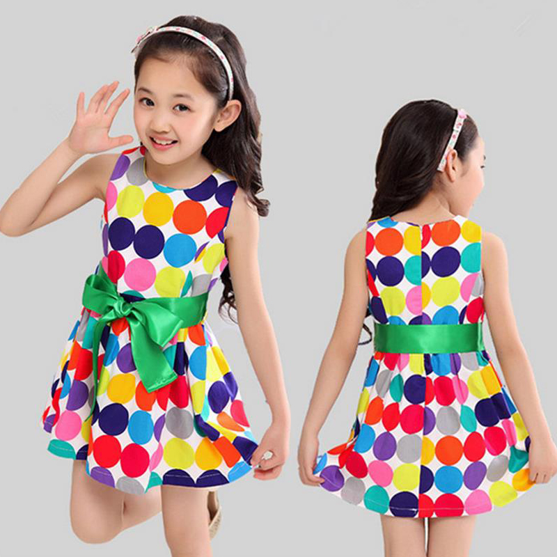 Girls dress summer 2016 kids clothes short sleeves rainbow Polka Dots Bowknot princess dress toddler party dress wear costume(China (Mainland))
