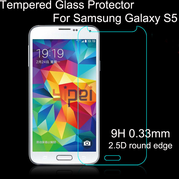 2015 High quality 2.5D Tempered Glass Screen Protector For Samsung Galaxy S5 i9600 Premium protective film Free Shipping(China (Mainland))