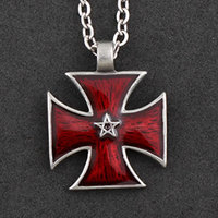"""Antique Pewter Gothic Cross Necklace in Gift Box - """"Star of Power"""""""
