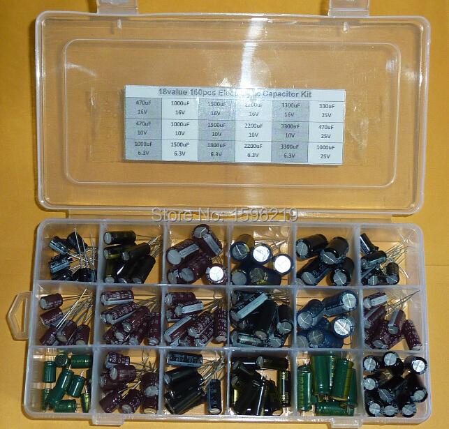 18value 160pcs 6.3V 10V 16V 25V 330uF 470uF 1000uF 1500uF 1800uF 2200F 3300uF capacitor kit Aluminum Electrolytic Capacitors(China (Mainland))